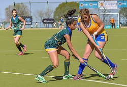 Chemelda Ontong of Eunice(green) and Bernice Smit of Waterkloof during day two of the FNB Private Wealth Super 12 Hockey Tournament held at Oranje Meisieskool in Bloemfontein, South Africa on the 7th August 2016, <br /> <br /> Photo by:   Frikkie Kapp / Real Time Images