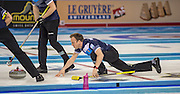 """Glasgow. SCOTLAND.  Scotland's """"Skip"""" Tom BREWSTER, during one off the """"Round Robin"""" Game. Le Gruyère European Curling Championships. 2016 Venue, Braehead  Scotland<br /> Tuesday  22/11/2016<br /> <br /> [Mandatory Credit; Peter Spurrier/Intersport-images]"""
