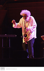 Jazz legend Sonny Rollins performs at the Michael Fowler Centre in New Zealand, as part of the Wellington International Jazz Festival 2011.  His band include Bob Cranshaw (bass), Kobie Watkins (drums), Sammy Figueroa (percussion) and Peter Bernstein (bass).