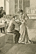 'Waldemar Haffkine (1860-1930) Russian bacteriologist , vaccinating a woman against Cholera at the Institut Pasteur. Huffkine developed vaccines against Cholera and Bubonic plague. Engraving, Paris, 1893.'