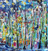 """'WANDERINGS' . 27.5"""" x 30"""" . Acrylic and Inks on Canvas . 2017"""
