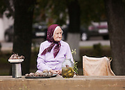 Elderly woman selling home grown produce by the roadside in Suzdal, Russia