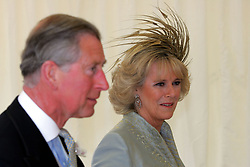Prince Charles and Camilla Parker Bowles arrive at St George's Chapel for their blessing ceremony.  The Royal wedding took place on 9th April, 2005 in Windsor.<br />