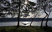 It's BYOH (bring your own hammock) at a Point Defiance Park Five Mile Drive pull-off offering a water view as the sun sets in Tacoma. (Ken Lambert / The Seattle Times)