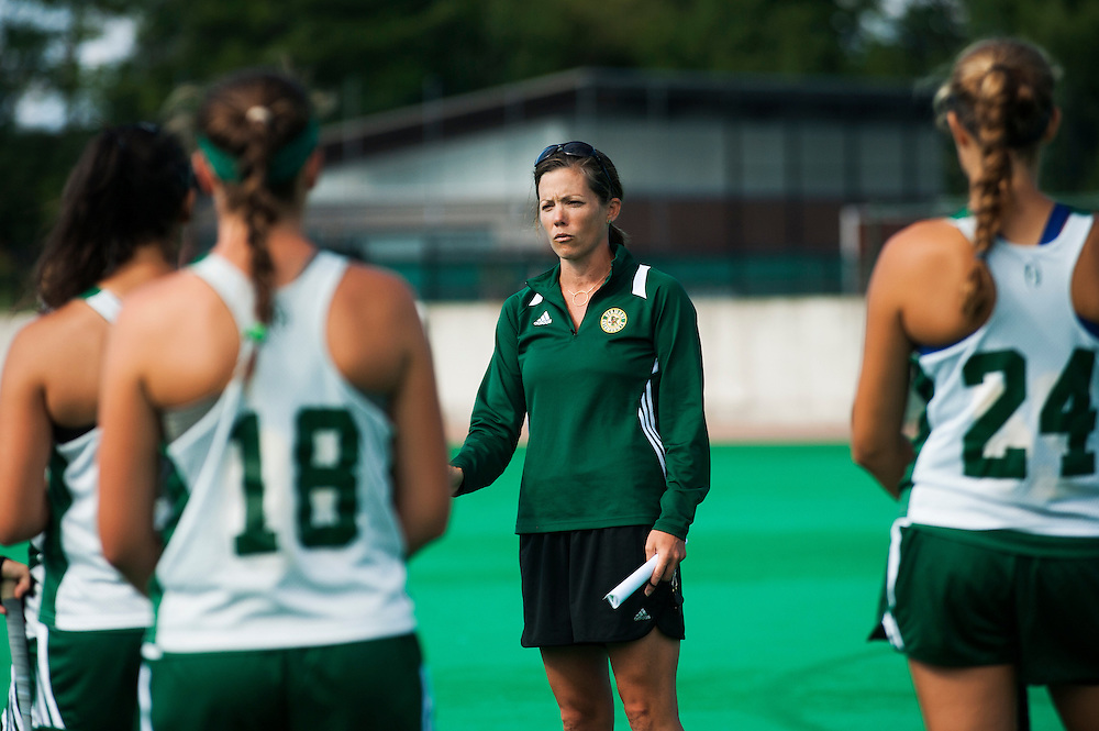 Head coach Kate Pfeifer talks to the team during the UVM field hockey practice at Moulton/Winder field on Wednesday morning August 26, 2015 in Burlington. (BRIAN JENKINS/ for the FREE PRESS)