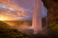Amazing sunset light and clouds at Seljalandsfoss on the south coast of Iceland