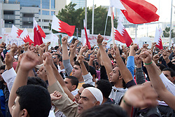 © under license to London News Pictures. 20/02/2011. Protesters gather at the Pearl Rounabout in Manama, Bahrain today (20/02/2011). Photo credit should read Michael Graae/London News Pictures