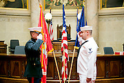 The University of Wisconsin Navy and Marine ROTC attend their commissioning ceremony in the Senate Chambers at the Capitol in Madison, Wisconsin on May 19, 2013.