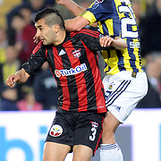 Fenerbahce's Semih SENTURK (R) and Gaziantepspor's Ismael SOSA (L) during their Turkish superleague soccer match Fenerbahce between Gaziantepspor at the Sukru Saracaoglu stadium in Istanbul Turkey on Saturday 16 April 2011. Photo by TURKPIX