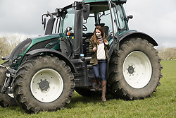The Duchess of Cambridge steps from a tractor during a visit to Manor Farm in Little Stainton, Durham. Picture date: Tuesday April 27, 2021.