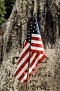 Grave stone with American flag, Vermont, VT, USA