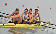 Shunyi, CHINA. GBR M4-, Bow Tom JAMES, Steve WILLIAMS, Peter REED and Andy TRIGGS HODGE, move away from the start  in there heat of the men's double at the 2008 Olympic Regatta,  Saturday, 09.08.2008  [Mandatory Credit: Peter SPURRIER, Intersport Images]