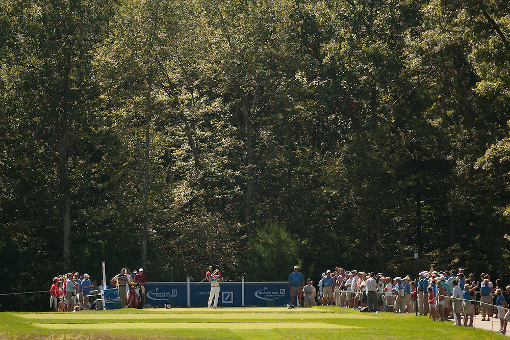 NORTON, MA - SEPTEMBER 4: Rickie Fowler plays a shot during the second round of the Deutsche Bank Championship at TPC Boston on September 4, 2010 in Norton, Massachusetts. (Photo by Darren Carroll/Getty Images) *** Local Caption *** Rickie Fowler