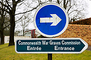 The sign to the head quarters of The Commonwealth War Graves Commission, just outside of Arras, France.
