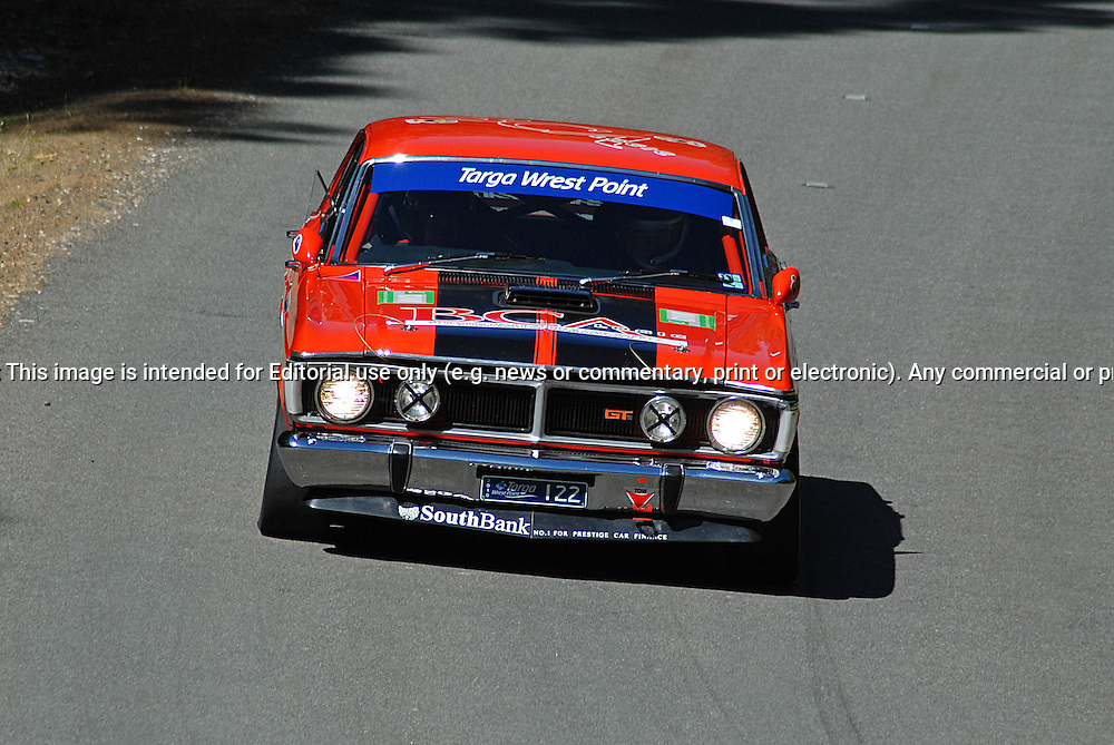 122 George Nittis & Karl Francis..1969 Ford XY GT HO.Day 1.Targa Wrest Point 2010.Southern Tasmania.30th of January 2010.(C) Sarah Biggin.Use information: This image is intended for Editorial use only (e.g. news or commentary, print or electronic). Any commercial or promotional use requires additional clearance.
