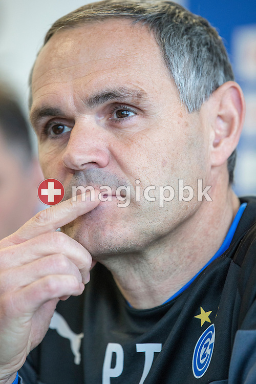 Head coach Pierluigi Tami is pictured during a press conference of Super League (National League A) soccer team Grasshopper Club Zuerich (GCZ) held at the GC Campus in Niederhalsi, Switzerland, Friday, Feb. 6, 2015. (Photo by Patrick B. Kraemer / MAGICPBK)