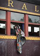 During an excursion, a railfan lets his vest flow out the moving car.
