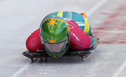 Australia's Jackie Narracott during the Women's Skeleton practice on day three of the PyeongChang 2018 Winter Olympic Games in South Korea. PRESS ASSOCIATION Photo. Picture date: Monday February 12, 2018. See PA story OLYMPICS Skeleton. Photo credit should read: David Davies/PA Wire. RESTRICTIONS: Editorial use only. No commercial use.