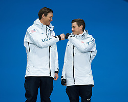 March 17, 2018 - Pyeongchang, South Korea - Jake Adicoff celebrates with guide Sawyer Kesselheim, left, before receiving their silver medals during a Medal Ceremony for the 10km Cross Country Visually Impaired event Saturday, March 17, 2018 at the Pyeongchang Medals Plaza at the Pyeongchang Winter Paralympic Games. Photo by Mark Reis (Credit Image: © Mark Reis via ZUMA Wire)