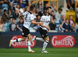 Derby County's David Nugent celebrates scoring their first goal