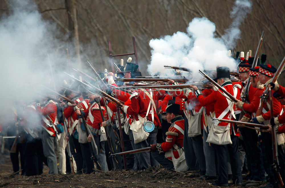 11 January 2015. New Orleans, Louisiana. <br /> Bicentennial reenactment of the Battle of New Orleans in Chalmette. <br /> British 'troops' re-enact their January 8th, 1815 disastrous battle against American foes marking the 200th anniversary of the Battle of New Orleans in Chalmette. Despite heavily outnumbering the Americans, the British suffered over 2,000 casualties, with many senior officers amongst the dead and injured compared to the Americans who suffered a mere 70 by comparison. The American victory was hailed as miracle.<br /> Photo; Charlie Varley/varleypix.com
