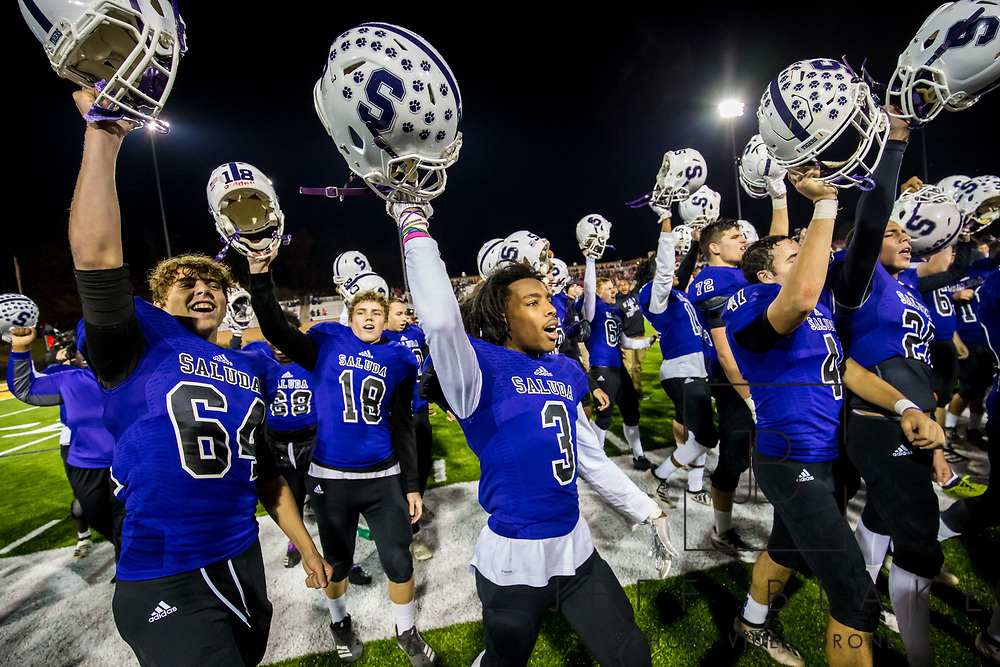 Saluda Tigers players celebrate after winning the Class AA State Championship game against the Barnwell Warhorses. 2019 Saluda State Championship Football Photos