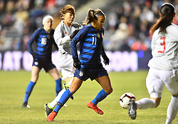 February 27, 2019 - Chester, PA, U.S. - CHESTER, PA - FEBRUARY 27: US Forward Mallory Pugh (11) collects the ball in the box in the first half during the She Believes Cup game between Japan and the United States on February 27, 2019 at Talen Energy Stadium in Chester, PA. (Photo by Kyle Ross/Icon Sportswire) (Credit Image: © Kyle Ross/Icon SMI via ZUMA Press)