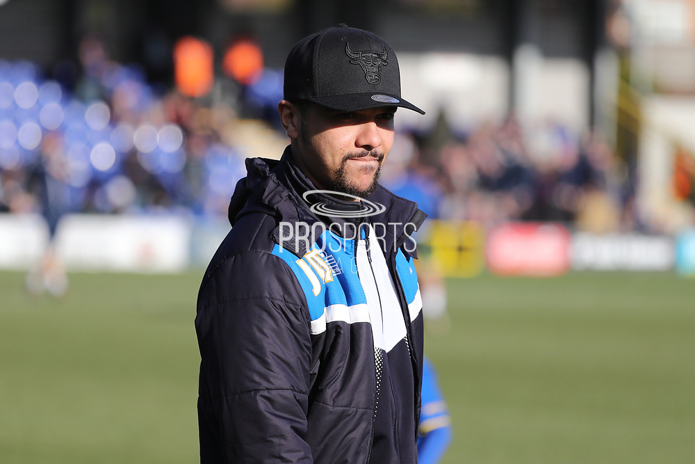 AFC Wimbledon striker Kweshi Appiah (9) watching the warm up during the EFL Sky Bet League 1 match between AFC Wimbledon and Bristol Rovers at the Cherry Red Records Stadium, Kingston, England on 17 February 2018. Picture by Matthew Redman.
