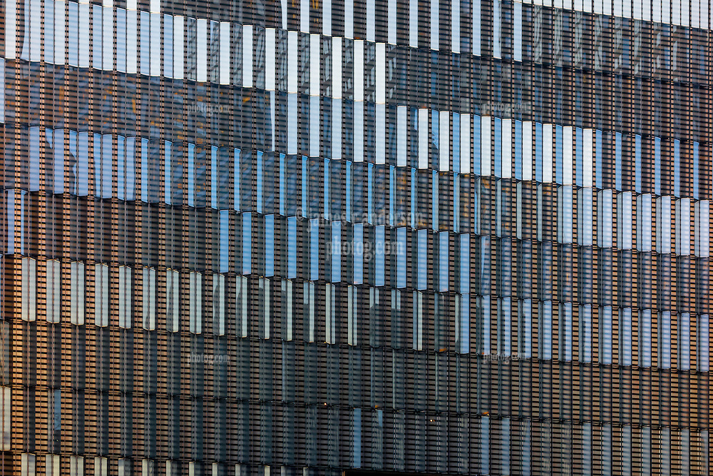 Architectural Detail of Curtain Wall, One World Trade Center West Elevation at Dusk. 20 May 2015