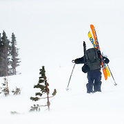 Sam Pope hikes into the Teton Backcountry near Jackson Hole Mountain Resort.