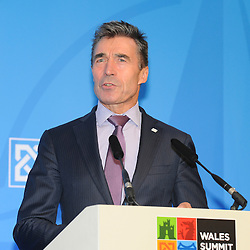 © London News Pictures. 05/09/2014. Newport, UK. <br /> Nato Secretary General Anders Fogh Ramussen speaking at the NATO (North Atlantic Treaty Organisation ) summit at Celtic Manor Resort, Newport, South Wales. Photo credit: Jeff Thomas/LNP