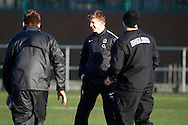 Picture by Andrew Tobin/Focus Images Ltd. 07710 761829.. 2/2/12. David Strettle shares a joke with his team mates during the England team training session held for the first time at Surrey Sports Park, Guildford, UK, before their 6-Nations game against Scotland