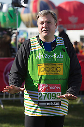 © Licensed to London News Pictures. 21/04/2013. London, England. Picture: Ed Balls MP. Celebrity Runners at a photocall before the start of the Virgin London Marathon 2013 race. Many wore black ribbons to pay their respect for those who died or were injured in the Boston Marathon. Photo credit: Bettina Strenske/LNP