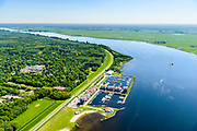 Nederland, Flevoland, Zeewolde, 07-05-2018; De Eemhof, vakantiepark Center Parcs, een bungalowpark en jachthaven aan het Eemmeer.<br /> Holiday Center Center Parcs, a bungalow park and marina on the Eemmeer.<br /> luchtfoto (toeslag op standard tarieven);<br /> aerial photo (additional fee required);<br /> copyright foto/photo Siebe Swart