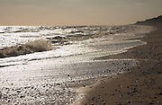 Winter on Dunwich beach, North Sea coast, Suffolk, East Anglia, England