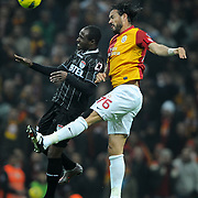 Galatasaray's Servet Cetin (R) during their Turkish Super League soccer match Galatasaray between Manisaspor at the TT Arena at Seyrantepe in Istanbul Turkey on Wednesday, 21 December 2011. Photo by TURKPIX