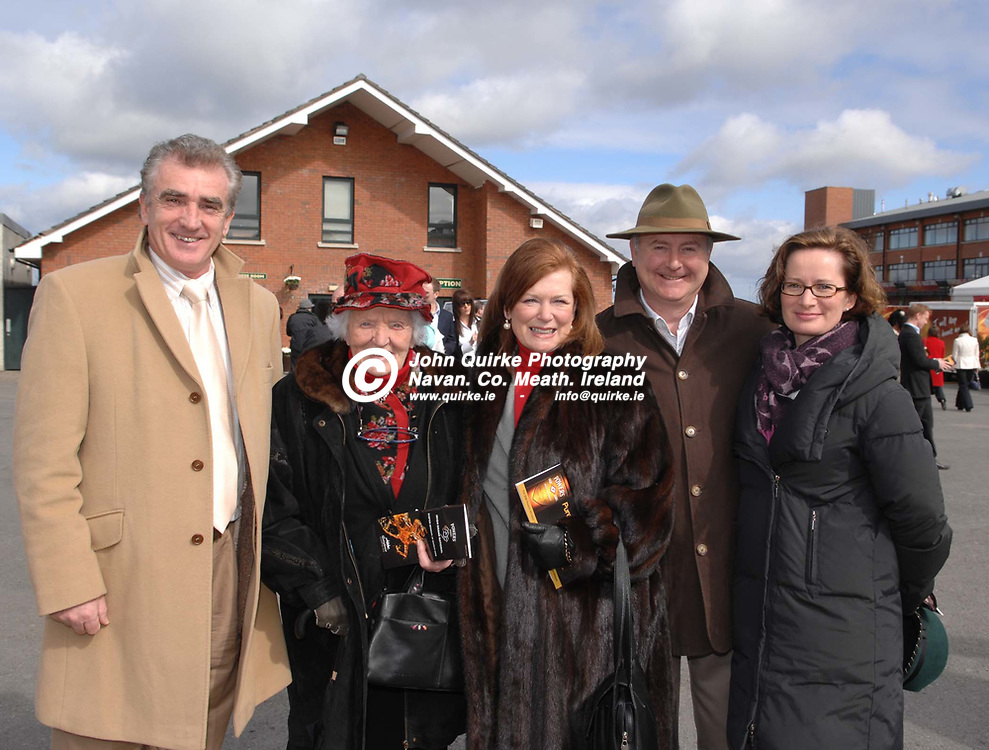 """24-03-08. Fairyhouse Races - Powers Whiskey Irish Grand National.<br /> L to R: Gerard McGrath, Moira McGrath (Owner of """"Well Run""""). Clonee. Mary O'Donnell, Paul and Yvanne Murray.<br /> Photo: www.quirke.ie<br /> ©John Quirke Photography, Unit 17, Blackcastle Shopping Cte.<br /> Navan. Co. Meath. 046-9079044 / 087-2579454."""