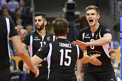 December 16, 2017 - Krakow, Malopolska, Poland - Karol Klos (6) of SKRA Belchatow celebrates a point with his team members during the match between Lube Civitanova and SKRA Belchatow during the semi finals of Volleyball Men's Club World Championship 2017 in Tauron Arena, Krakow. (Credit Image: © Omar Marques/SOPA via ZUMA Wire)