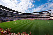 A view from right-center field at Target Field during a game between the Minnesota Twins and Detroit Tigers on August 28, 2011 at Target Field in Minneapolis, Minnesota.  The Twins defeated the Tigers 11 to 4.