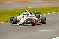 Mariano Martinez(MEX) Fortec Motorsport & Reema Juffali(SAU) Double R Racing go wheel to wheel during the FIA Formula 4 British Championship at Knockhill Racing Circuit, Dunfermline, Scotland on 15 September 2019.