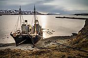 Hvalfjörður, Iceland, 6 apr 2019, Hvalur 6 and Hvalur 7, 2 whaling vessels, sank by Greenpeace Sea shepperd in in 1986 Hvalur sinkings