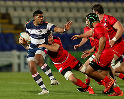 Senitiki Nayalo of Coventry Rugby is tackled - Mandatory by-line: Nick Browning/JMP - 26/02/2021 - RUGBY - Butts Park Arena - Coventry, England - Coventry Rugby v Saracens - Friendly