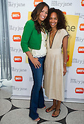 """(L to R) Dallas television personality Shon Gables and Mara Brock Akil, creator and executive producer of  BET's """"Being Mary Jane"""", poses for a portrait before a screening  at the W Hotel in Dallas, Texas on June 22, 2013."""