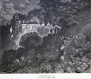 "That embowered pile did seem a cloud from some fantastic dream."" Illustration from 'The Sleeping Beauty' by Paul Gustave Doré (1832-1883). The castle lay asleep for 100 years. From the book Fairy realm. A collection of the favourite old tales. Illustrated by the pencil of Gustave Dore by Tom Hood, (1835-1874); Gustave Doré, (1832-1883) Published in London by Ward, Lock and Tyler in 1866"