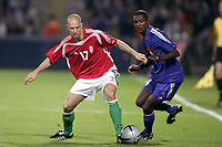 Fotball<br /> Privatlandskamp<br /> Frankrike v Ungarn<br /> 31.05.2005<br /> Foto: Dppi/Digitalsport<br /> NORWAY ONLY<br /> <br /> ZSOLT BARANYOS (HUN) / ERIC ABIDAL (FRA)