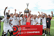 Wellington celebrate winning the last ever ISPS Handa Premiership. Auckland City FC v Team Wellington. ISPS Handa Men's Premiership final football match at North Harbour Stadium in Auckland. Sunday 21 March 2021. Copyright Photo: Shane Wenzlick