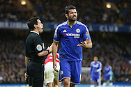 Chelsea's Diego Costa disputes a decision during the Barclays Premier League match between Chelsea and Manchester United at Stamford Bridge, London, England on 7 February 2016. Photo by Phil Duncan.