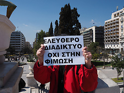 March 23, 2019 - Athens, Attiki, Greece - Supporters of the Pirate Party of Greece demonstrate in Syntagma square against the Copyright directive that E.U. plans to vote and specially the Articles 11 and 13. (Credit Image: © George Panagakis/Pacific Press via ZUMA Wire)