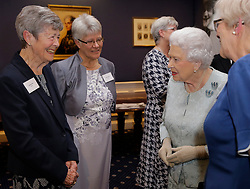 The Queen and The Princess Royal attend a reception to mark the Centenary of the Women's Royal Navy Service at the Army and Navy Club, London, UK on the 12th October 2017. Picture by Alastair Grant/WPA-Pool. 12 Oct 2017 Pictured: Queen, Queen Elizabeth. Photo credit: MEGA TheMegaAgency.com +1 888 505 6342