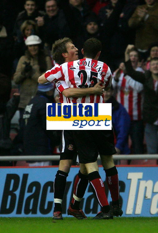 Photo: Andrew Unwin.<br />Sunderland v Northwich Victoria. The FA Cup. 08/01/2006.<br />Sunderland's Neill Collins (R) celebrates his goal.